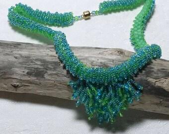 Bead Fringe Necklace Fringe Necklace Green Blue Necklace Green Bead Necklace Seed Bead Necklace Beadwoven Necklace Beadwork Necklace