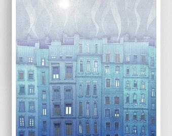 30% OFF SALE: Foggy day in Paris  - Fine art illustration Giclee print Art Poster Paris art Paris Home decor Wall decor Large wall art City