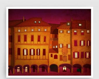 30% OFF SALE: Italian facade (red,night version) - Italy illustration Art Home Wall decor Print Poster Drawing Architectural drawing Travel