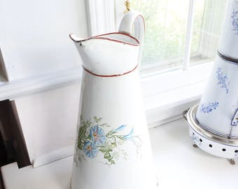 Lovely French Antique Enamelware Body Pitcher, Blue Morning Glories, c. 1900, Kitchen decor, Flower vase, birthday gift