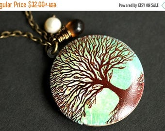 BACK to SCHOOL SALE Tree of Life Locket Necklace. Tree Necklace with Tea Brown Teardrop and Fresh Water Pearl Charm. Tree Locket. Turquoise