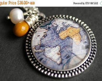 BACK to SCHOOL SALE World Map Necklace. Planet Earth Map Pendant with Fresh Water Pearl Charm and Mustard Yellow Teardrop. Blue Necklace. Ha