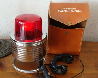 Vintage 1960's 12v Rotating Red Warning Blinker Light w/ Leather Case, Hong Kong British Empire Mark