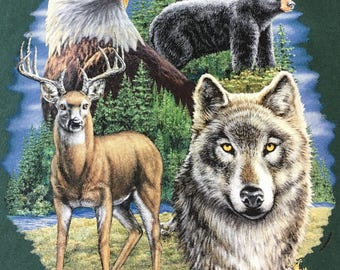 Wolf,deer,eagle and bear T shirt,wildlife montage t shirt