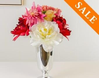 White Pink Red Silk Arrangement - Artificial Flowers - Faux Arrangement - Centerpiece - Home Decor