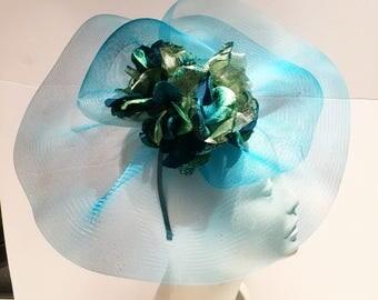 Turquoise Fascinator- Floral Hat- Easter- Ladies Luncheon -High tea- Kentucky Derby- Flower Fascinator -Hydrangea Fascinator- Hat