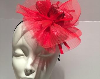Red Heart Fascinator- Valentines Fascinator- Derby Party Hat- Red heart s- Red Headpiece -Red Fascinator- Red Cocktail Hat- red headband