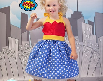 Wonder Woman Inspired Super Hero Dress, Co-play, Comic-Con, School Play, Custom Costume, Birthday, Dress-up, Children sizes,