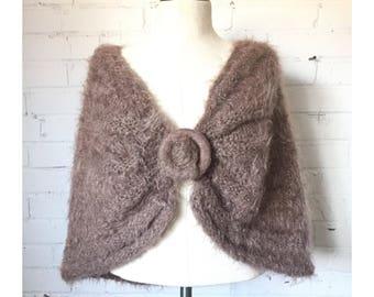 50s mauve mohair shawl   OS