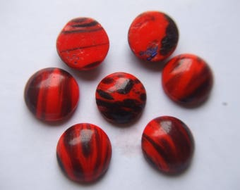Vintage Japanese 14mm Red and Black Glass Cabochons x 7   # LL 3