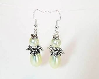 ivory pearl guardian angel earrings hypoallergenic earrings nickel free earrings off white angelic earrings dangle drop beaded earrings