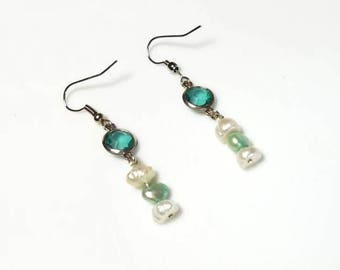 Aqua Blue White Freshwater Pearl Aqua Crystal Earrings Hypoallergenic Earrings Nickel Free Earrings Dangle Earring Drop Beaded Earrings