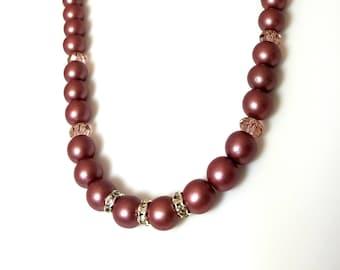 Satin Mauve Purple Czech Glass Druk Bead Swarovski Crystal Necklace with Clear Rondelles Beaded Elegant Necklace Czech Jewelry