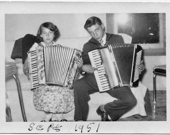 Old Photo Girl and Boy playing Accordions 1950s Photograph Snapshot vintage