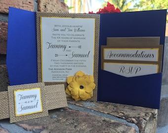 Mexican Style Burlap rustic Invitation Suite - burlap elegant invitations - sun flower invitations - spring wedding invitation