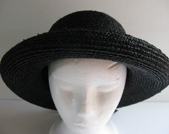 Vintage Original Helen KAMINSKI RAFFIA HAT/Made in Australia/Raffia Outer w Cotton Trim Bow Hats/Sun Hats/Raffia made Hats/Vintage Black Hat