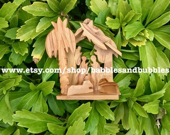 Hand Carved Olive Wood Christmas Nativity Ornament - NEXT DAY SHIPPING