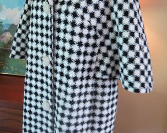 Vtg 1950s mary lane Houndstooth black white harlequin coat
