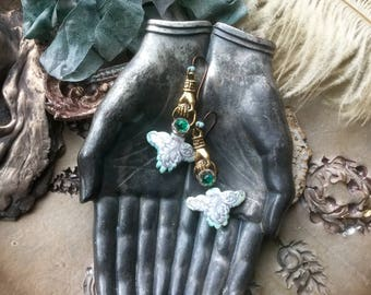 Baroque Goes Modern assemblage earrings with hand charms, mixed media jewelry, hand holding ring, hand earrings, light aqua, AnvilArtifacts