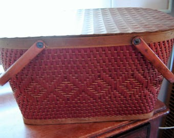 Vintage Redman picnic basket metal handles wood base storage basket vintage storage wood and wicker