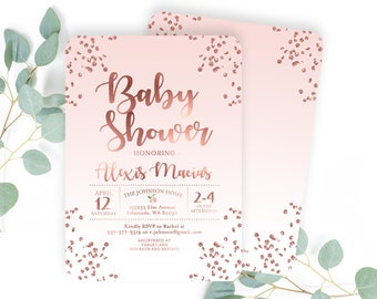 Baby Girl Shower Invitation Rose Gold Baby Shower Invite Confetti Glitter Dusty Pink Baby Sprinkle ANY EVENT Printable or Printed