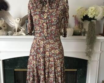 70s Bow Neck 40s style Mini Dress