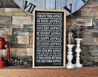 Mother Teresa Quote Wood Sign, Framed Sign, Inspirational Sign