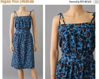 1980s African print cotton Strap Dress Medium/ Vintage african cotton dress