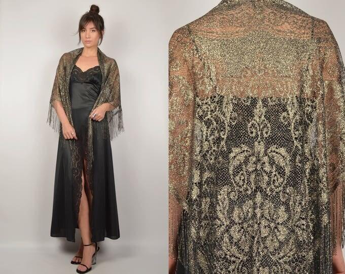 Metallic Fringe Crochet / Lace Shawl