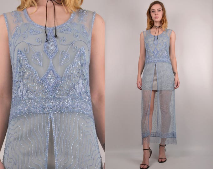 Vintage Sheer Beaded Overlay Dress
