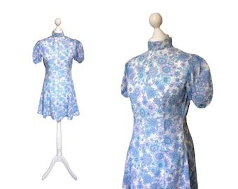 Blue Floral 60's Mini Dress | 1960's Vintage Dress | Puff Sleeve Skater Dress