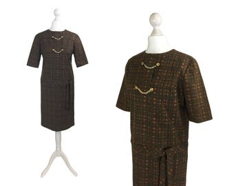 1950's Dress | Vintage Sack Dress | Brown Check 50's Vintage Dress With Brass Chains