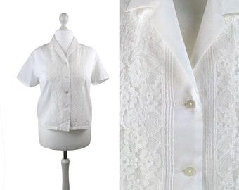 White 1950's Blouse | Large Size | Lace Front Vintage Blouse | Short Sleeve Vintage Top | Size Large UK18 USA14