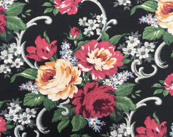 """Retro Fabric, Daisy Kingdom """"Grannies Roses"""", 1997, Cabbage Roses, Home Decor, By the Yard"""