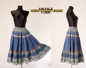 Blue French Provence cotton folk skirt  / Vintage Tiered elastic waist Folk skirt  Atelier Provencal /  free size