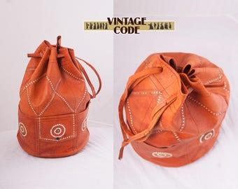 Leather Caramel Brown drawstring Bag Shoulder bag /   Hippie Boho Festival Ethnic Bag