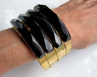 Bakelite Black Brass Bracelet, WIDE Vintage Deco Structural Cuff, Diamond Faceted Black Riveted Bands