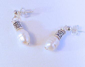 Silver Filigree Pearl Post Earrings