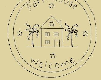 "Primitive Stitchery E-Pattern ""Farmhouse Welcome!"" Candle Mat"