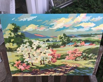 """Vintage Paint By Number Spring Scene - Flowering Trees - 24"""" x 18"""""""