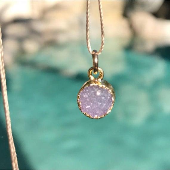 Druzy necklaces, Druzy Quartz Crystal necklaces, silk cord boho jewelry