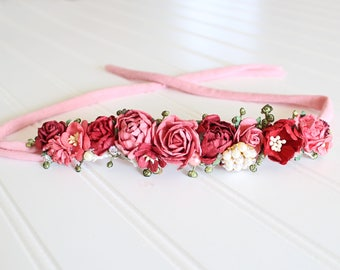 Roses are Red - floral halo jersey tieback in red, wine, coral pink, watermelon, with touches of cram and gold (RTS)