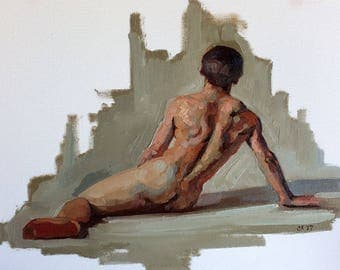 oil painting 8x10 inch male figure sketch