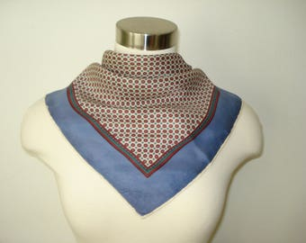 Vintage Square La Dear Scarf - Polka Dot Blue and Red - Fall Scarves - Womens Autumn Accessories 1970s