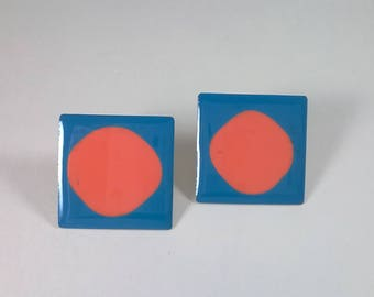 Vintage Square Earrings  - Blue and Pink Circles - Pierced Retro Fashion Jewelry - 1980s