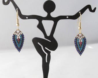 Enameled Feather Earrings on Gold Finished Surgical Steel Fishhook Earwires