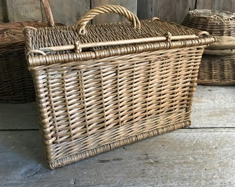 """Antique French Picnic Basket, Market, Hand Woven Willow Large 16"""" Storage Basket, Wood Dowel and Carry Handle"""