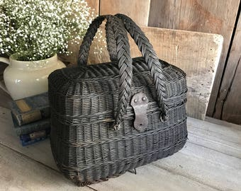 French Wicker Basket. Farmers Market, Antique 1800s Panier de Ferme