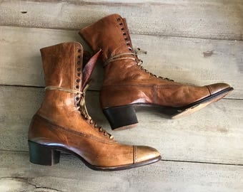 Antique High Laced Leather Boots, Caramel Brown, Victorian, Edwardian Ankle Boots, Period Costume, Prop, Original Makers Tag