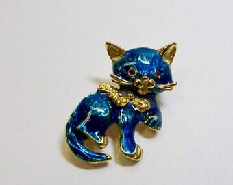 On Sale Vintage Blue Enameled Cat Pin Item K # 3159
